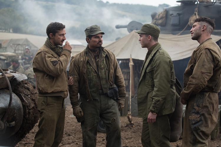 """Boyd """"Bible"""" Swan (Shia LaBeouf), Trini """"Gordo"""" Garcia), Norman (Logan Lerman) and Grady """"Coon-Ass"""" Travis (Jon Bernthal) in Columbia Pictures' FURY. PHOTO BY:Giles Keyte COPYRIGHT:© 2014 CTMG, Inc. All Rights Reserved."""