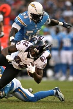 Linebacker Melvin Ingram (54) brings down Torrey Smith of the Baltimore Ravens in 2012. Photo Credit: Jon Gaede/News4usonline.com