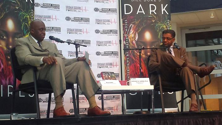 "Actor and author Bill Duke discusses his book, ""Dark Girls"" at the Urban Issues Breakfast Forum with Dr. Anthony Asasullah Samad."