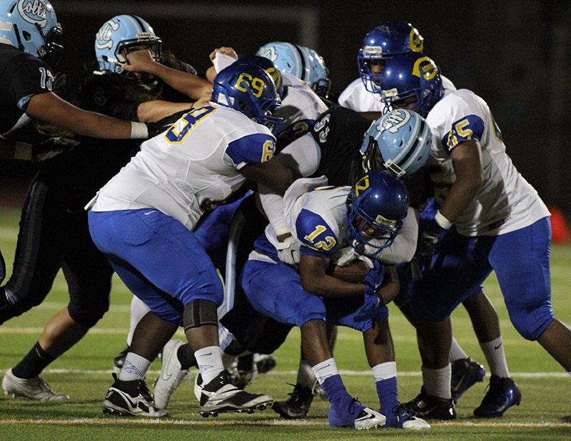 Carson's Defense stopped Crenshaw's fast athletes before they could get a crease. Photo by Jevone Moore / Full Image 360 / News4usonline.com