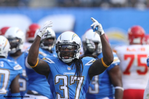 Defensive back Jahleel Addae tries to rev up the Chargers crowd at Qualcomm Stadium. Photo Credit: Kevin Reece/News4usonline.com
