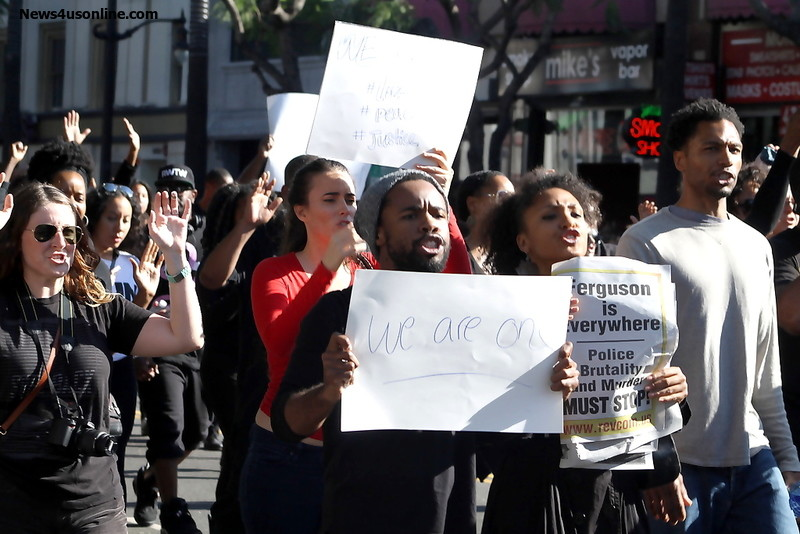 Protesters air their grievance in the streets during the Blackout Hollywood marcch on Dec. 6, 2014. Photo Credit: Dennis J. Freeman/News4usonline.com