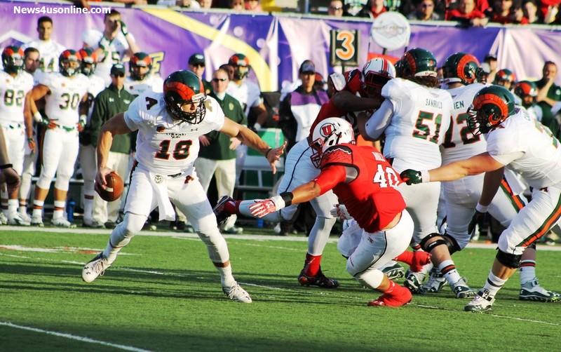 Colorado State quarterback Garrett Grayson (18) couldn't get too comfortable against Utah's defense in the 2014 Royal Purple Las Vegas Bowl. Photo Credit: Dennis J. Freeman/News4usonline.com