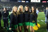 Oregon Cheerleaders have a lot to smile about after the Ducks beat Florida State 59-20 in the 2015 Rose Bowl in Pasadena, California. Photo by Dennis J. Freeman/News4usonline.com