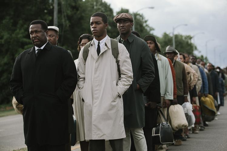 Wendell Pierce (far left) plays Rev. Hosea Williams and Stephan James (second from left) plays John Lewis in SELMA, from Paramount Pictures, Pathé, and Harpo Films.