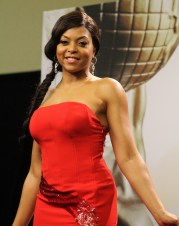 """Empire"" star Taraji P. Henson is simply glamorous in red backstage at the 46th NAACP Image Awards. Photo by Dennis J. Freeman/News4usonline.com"