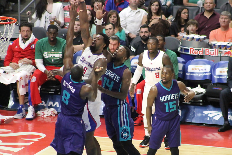 DeAndre Jordan scored 12 points and pulled down 14 rebounds for the Clippers against the Charlotte Hornets. Photo by Dennis J. Freeman/News4usonlin.com