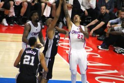 Matt Barnes goes to the rack against the Spurs. Photo Credit: Dennis J. Freeman/News4usonline.com