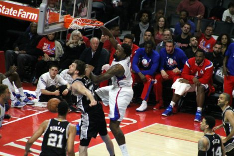 DeAndre Jordan throws it down for two points against the San Antonio Spurs. Photo Credit: Dennis J. Freeman/News4usonline.com