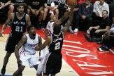 The Clippers' Matt Barnes attempts to block this shot by the Spurs' Kawhi Leonard in Game 2. Photo Credit: Dennis J. Freeman/News4usonline.com