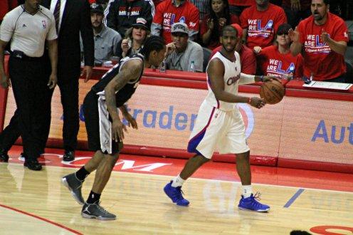 Chris Paul surveys he court in Game 2 against the San Antonio Spurs. Photo Credit: Dennis J. Freeman/News4usonline.com