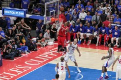 Houston's Dwight Howard throwing it down. Photo by Jevone Moore/News4usonline.com