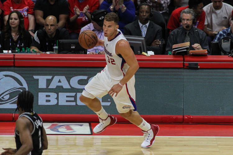 Blake Griffin leads a Los Angeles Clippers fastbreak in Game 7 at Staples Center. Photo Credit: Jevone Moore/News4usonline.com