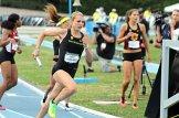 Annie LeBlanc runs her leg in the Oregon Ducks' 4x400 relay team at the 2015 Pac-12 Championships. Photo by Dennis J. Freeman/News4usonline.com