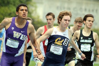 Washington's Izaic Yorks (left) claimed the men's 1, 500 meters with a time of 3:46.42. Photo by Dennis J. Freeman/News4usonline.com