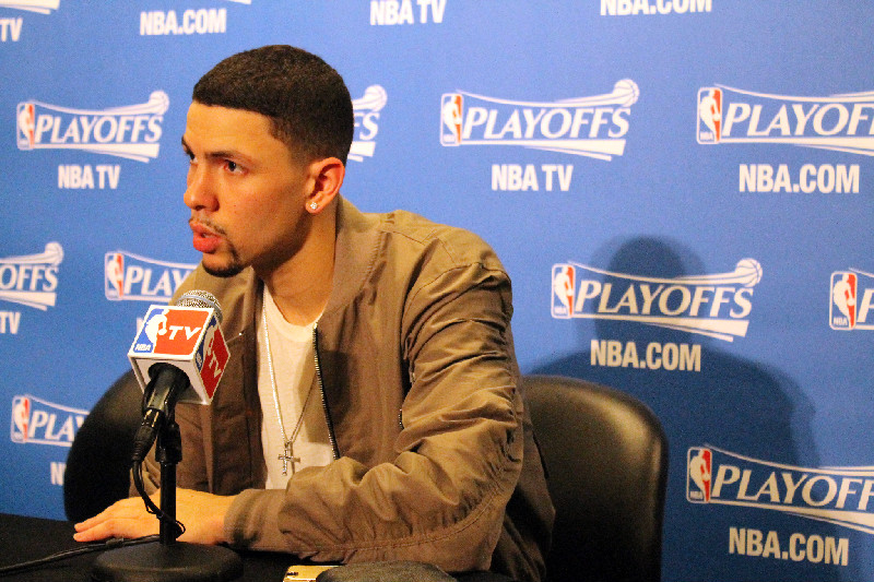 Austin Rivers meet with the media after Game 3 between the Los Angeles Clippers and Houston Rockets. Rivers scored a playoff-high 25 points to lead the Clippers to a 124-99 win at Staples Center. Photo Credit: Dennis J. Freeman/News4usonline.com