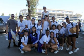 Members of the Chula Vista High School cheer team take this photo-op in the parking lot of Qualcomm Stadium before the San Diego Chargers played host to the Detroit Lions. Photo by Dennis J. Freeman/News4usonline.com