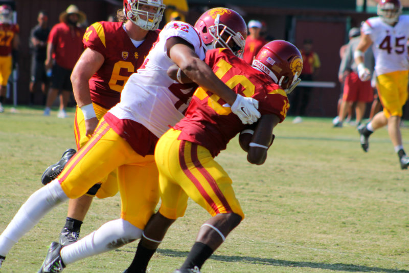 The Trojans will be looking to improve their defensing ranking during the 201 college football season. Photo by Dennis J. Freeman
