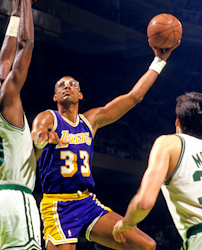 Los Angeles Lakers Kareem Abdul-Jabbar with Boston Celtics Robert Parish and Kevin McHale late 1980s. Photo credit: Steve Lipofsky Basketballphoto.com