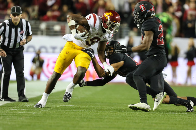 USC wide receiver JuJu Smith-Schuster making moves against Stanford defenders during the Pac-12 Conference Championship. Photo courtesy of Jevone Moore