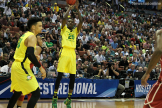 Oregon's Chris Boucher launches from long distance against Oklahoma.