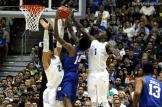 Oregon defenders form a block party on Duke's Brandon Ingram.