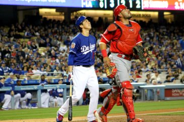 The LA Dodgers and Los Angeles Angels of Anaheim do battle during the preseason.