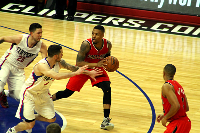 Portland guard Damian Lillard scored 16 of his 22 points in Game 5 in the fourth quarter. Photo by Dennis J. Freeman/News4usonline.com