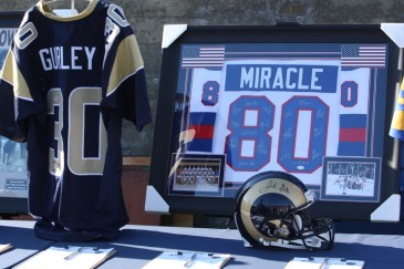 There was a lot of memorabilia on display during the Rams All-Access event. Photo by Astrud Reed/News4usonline