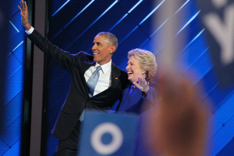 President barack Obama and Democratic Party Presidential nominee Hilary Clinton. Photo by Chris Frommann/DNCC
