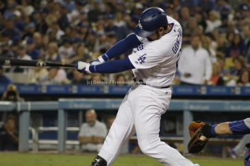 Los Angeles Dodgers first baseman Adrian Gonzales went 1-5, including hitting a solo run against the Chicago Cubs at Dodger Stadium Friday, Aug, 26, 2016. Photo by Dennis J. Freeman/News4usonline