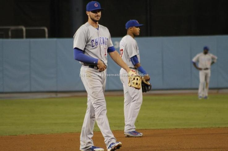 The Cubs third baseman Kris Bryant hit his 34th and 35th home runs of the season in the first of three games played at Dodger Stadium Friday, Aug. 26, 2016. Photo by Dennis J. Freeman/News4usonline