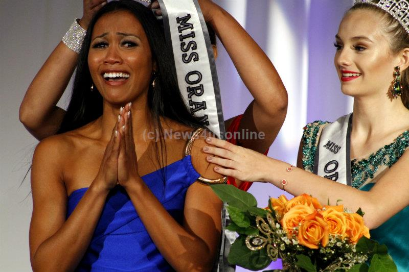 Maricris Lapaix is full of emotion after being named the 2017 Miss Orange County California Pageant winner on Sunday, Aug. 28, 2016. Photo by Dennis J. Freeman/News4usonline