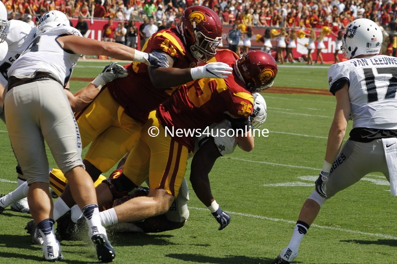 USC clamped down on Utah State to come away with a 45-7 win in the Trojans' 2016 home opener. Photo by Dennis J. Freeman/News4usonline