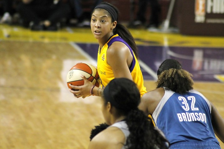 Candace Parker scored 24 points and grabbed nine rebounds in the Los Angeles Sparks' 92-75 WNBA Finals Game 3 win at USC Galen Center. Photo by Dennis J. Freeman