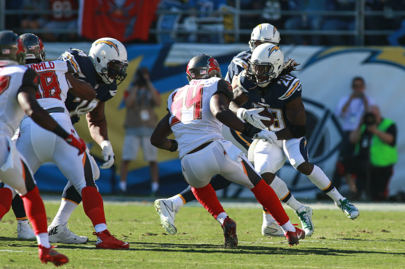 Melvin Gordon rushed for 84 yards and 1 touchdown against the Tampa Bay Buccaneers on Sunday, Dec. 4, 2016. Photo by Dennis J. Freeman/News4usonline.com