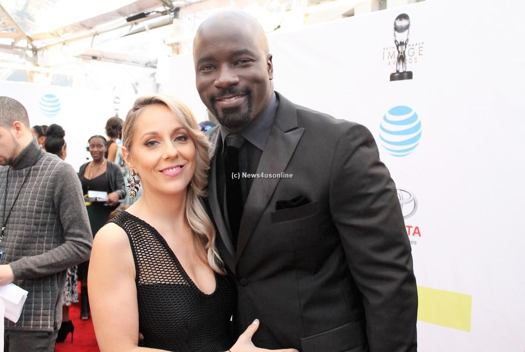 """""""Luke Cage"""" star Michael Colter with wife Iva on the red carpet at the 48th Annual NAACP Image Awards on Saturday, Feb. 11, 2017. Photo by Dennis J. Freeman/News4usonline"""
