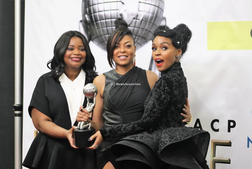 """""""Hidden Figures"""" stars Octavia Spencer, Taraji P. Henson and Janelle Monae celebrate backsgae of the 48th Annual Image Awards as their film won the prize for Outstanding Motion Picture. Photo by Dennis J. Freeman/News4usonline"""
