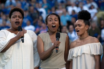 The pre-game cereomines got the juices flowing with beautiful singing during the Los Angeles Dodgers African American Heritage Night event. Photo by Astrud Reed for News4usonline
