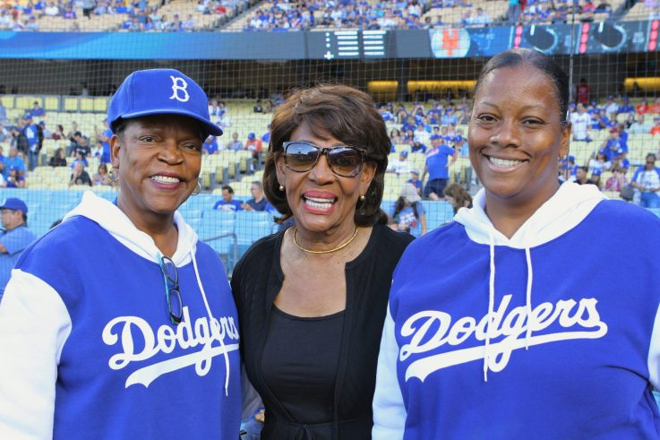 US Congressowman Maxine Waters (Center) attend the Los Angeles Dodgers African American Heitage Night celebration on Monday, June 19, 2017. Photo by Astrud Reed for News4usonline