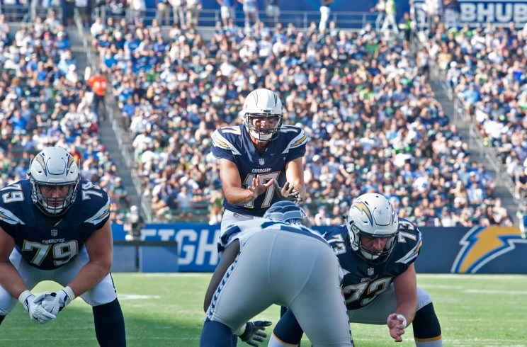 Los Angeles Chargers quarterback Philip Rivers gets his offense ready against the Seattle Seahawks in preseason action. Photo by Astrud Reed/News4usonline