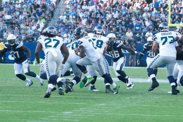 Seattle Seahawks backup quarterback Trevone Boykin making things happen against the Los Angeles Chargers. Photo by Astrud Reed/News4usonline