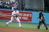 Los Angeles Dodgers shortstop Corey Seager looks to make a play at first base during the 2017 postseason. Photo by Dennis J Freeman for News4usonline