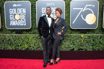 """Nominated for BEST PERFORMANCE BY AN ACTOR IN A TELEVISION SERIES – DRAMA for his role in """"This Is Us,"""" actor Sterling K. Brown and Ryan Michelle Bathe arrive at the 75th Annual Golden Globes Awards at the Beverly Hilton in Beverly Hills, CA on Sunday, January 7, 2018."""