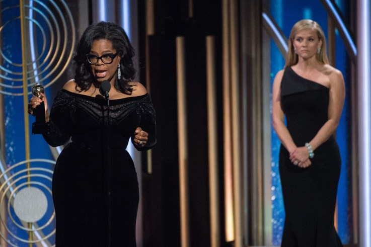 """Oprah Winfrey accepts the Cecil B. DeMille Award for her """"outstanding contribution to the entertainment field"""" at the 75th Annual Golden Globe Awards at the Beverly Hilton in Beverly Hills, CA on January 7, 2018."""