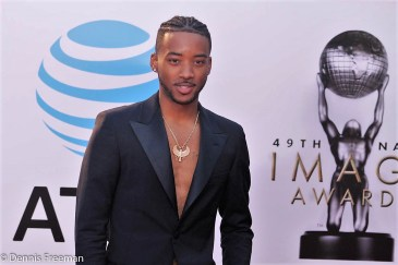 """""""Detroit"""" star Algee Smith walk the red carpet at the 49th Annual NAACP Image Awards on Monday, Jan. 15, 2018. Photo by Dennis J. Freeman"""