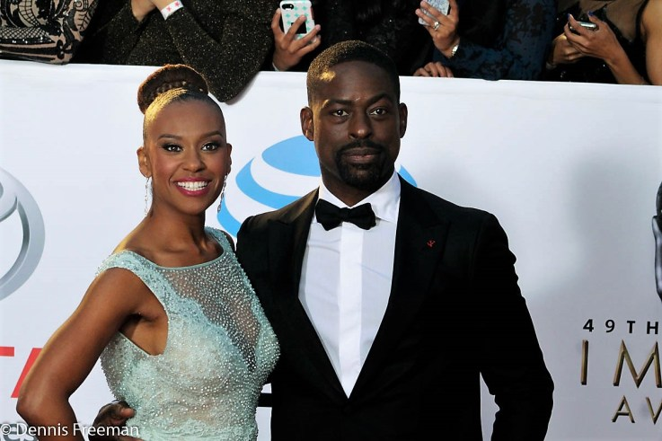 """""""This is Us"""" star Sterling K. Brown attend the 49th Annual NAACP Image Awards with his lovely wife Ryan Michelle Bathe. Photo by Dennis J. Freeman"""