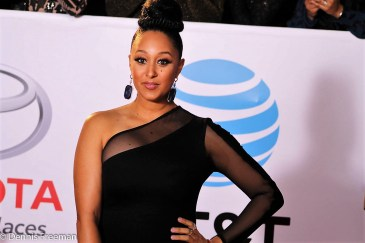 """""""The Real"""" co-host Tamera Mowry-Housley makes her on the red carpet at the 49th Annual NAACP Image Awards. """"The Real"""" won the NAACP Image Award for """"Outstanding Talk Series."""" Photo by Dennis J. Freeman"""