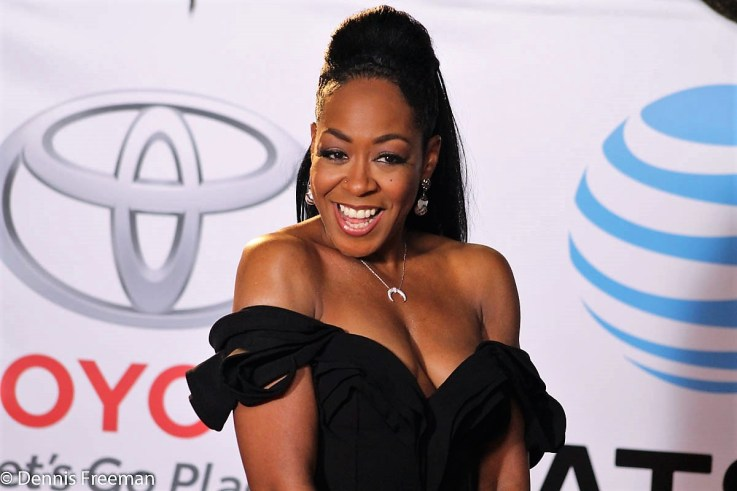 Actress Tichina Arnold is spectacular on the red carpet at the 49th Annual NAACP Image Awards on Monday, Jan. 15, 2018. Photo by Dennis J. Freeman