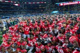 The Ohio State Buckeyes celebrate defeating USC at the 82Annual Goodyear Cotton Bowl Classic at AT&T Stadium. Photo by Michael Lark for News4usonline